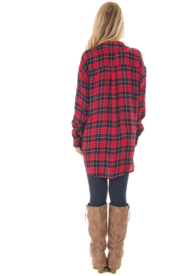 Red and Navy Plaid Button Up Collared Top back full body