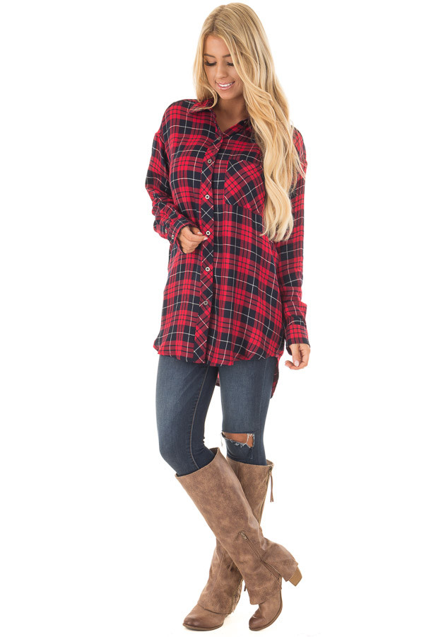 Red and Navy Plaid Button Up Collared Top front full body