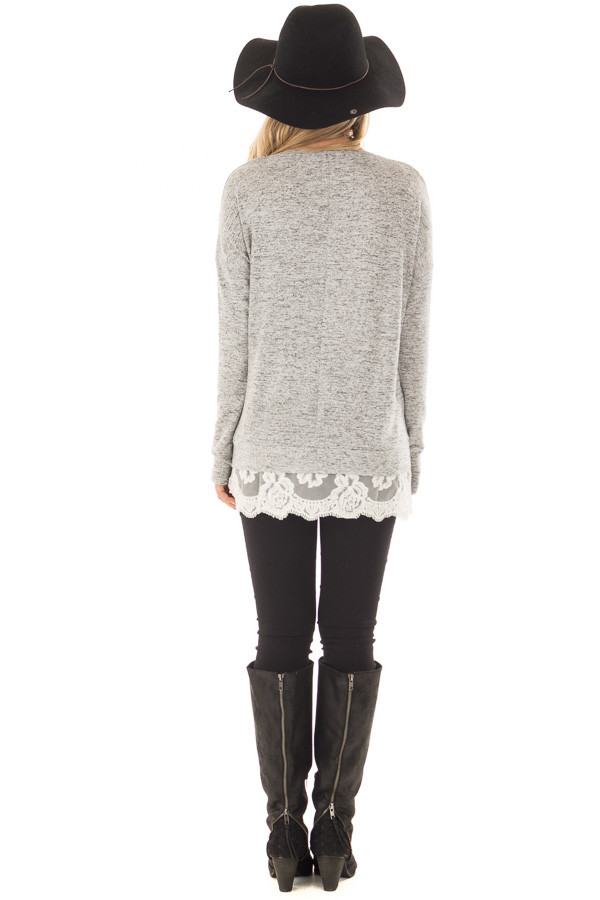 Heather Grey Two Tone Top with Sheer Lace Detail back full body