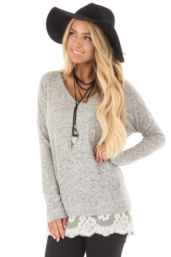 Heather Grey Two Tone Top with Sheer Lace Detail front closeup