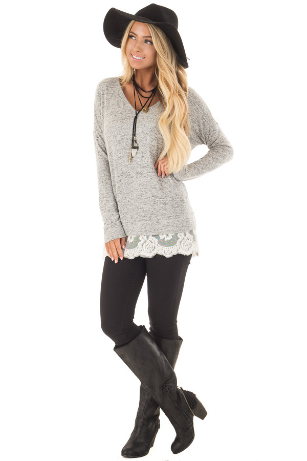 Heather Grey Two Tone Top with Sheer Lace Detail front full body
