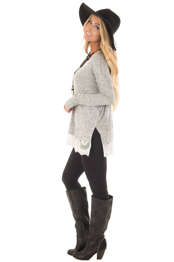 Heather Grey Two Tone Top with Sheer Lace Detail side full body