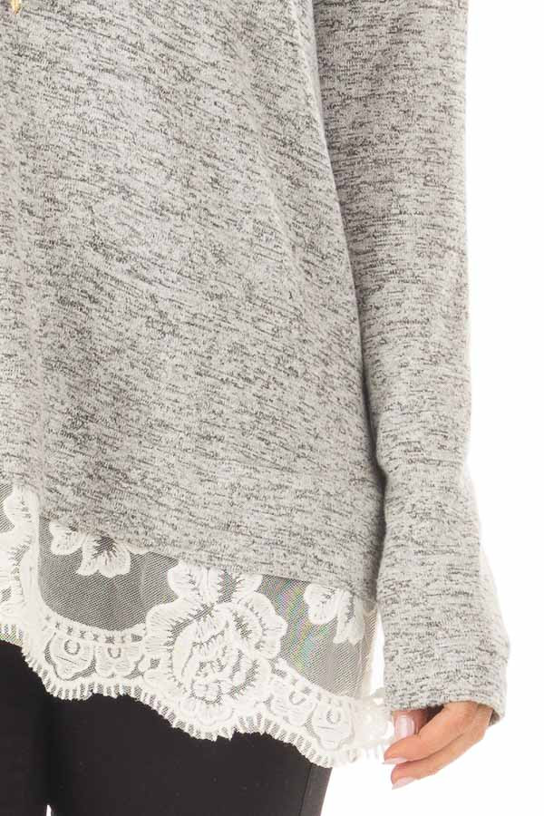 Heather Grey Two Tone Top with Sheer Lace Detail front detail