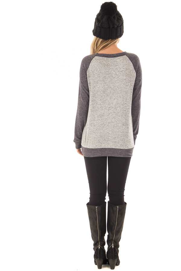 Heather Grey and Charcoal Top with Kangaroo Pocket back full body