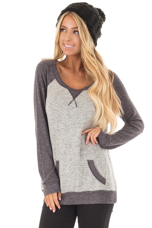 Heather Grey and Charcoal Top with Kangaroo Pocket front closeup