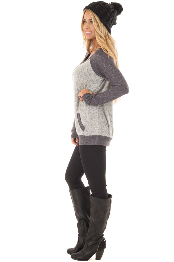 Heather Grey and Charcoal Top with Kangaroo Pocket side full body