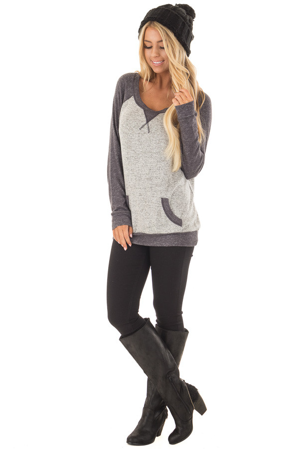 Heather Grey and Charcoal Top with Kangaroo Pocket front full body