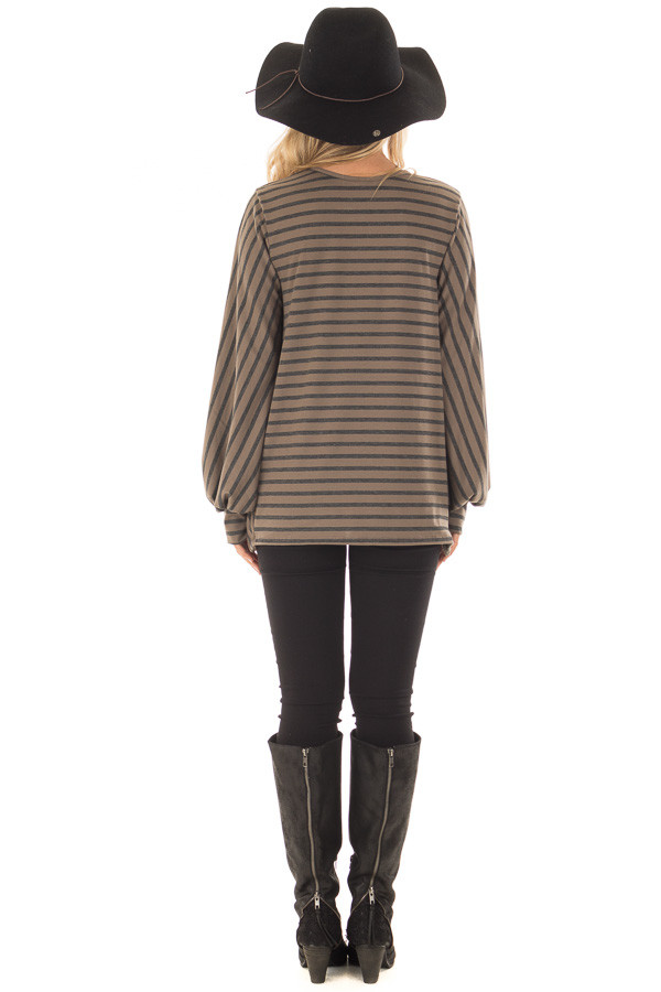 Mocha Striped Bubble Sleeve Top with Side Slits back full body