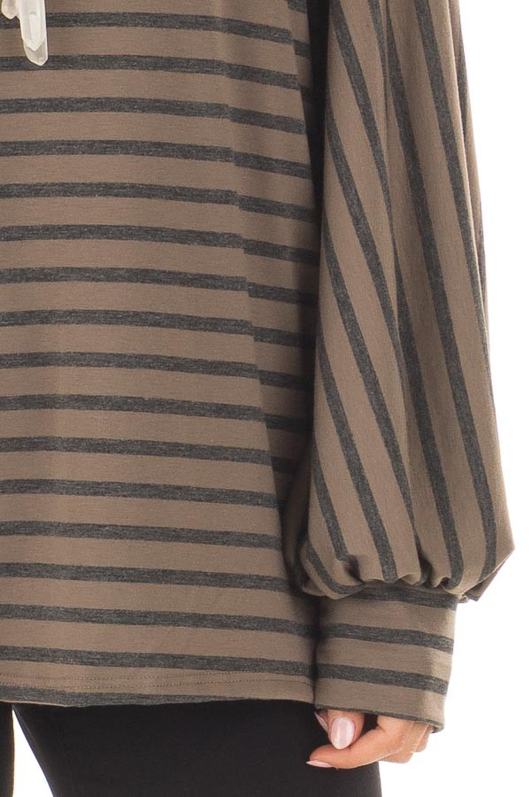Mocha Striped Bubble Sleeve Top with Side Slits front detail
