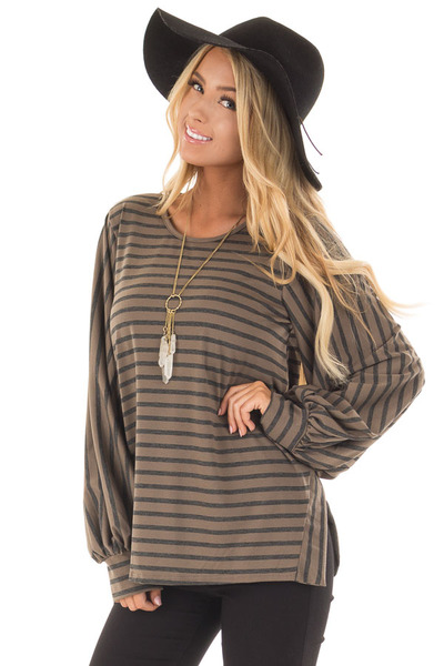 Mocha Striped Bubble Sleeve Top with Side Slits front closeup