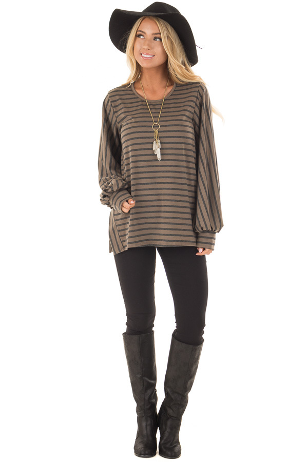 Mocha Striped Bubble Sleeve Top with Side Slits front full body