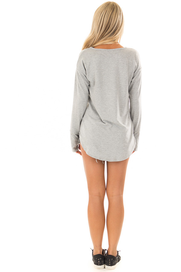 Heather Grey Top with Thumb Holes back full body