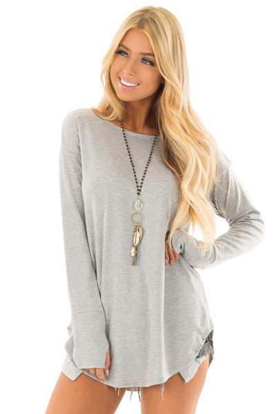 Heather Grey Top with Thumb Holes front close up
