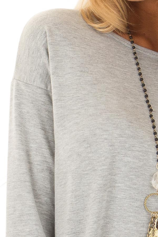 Heather Grey Top with Thumb Holes detail