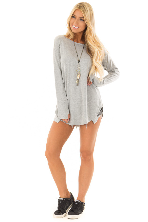 Heather Grey Top with Thumb Holes front full body