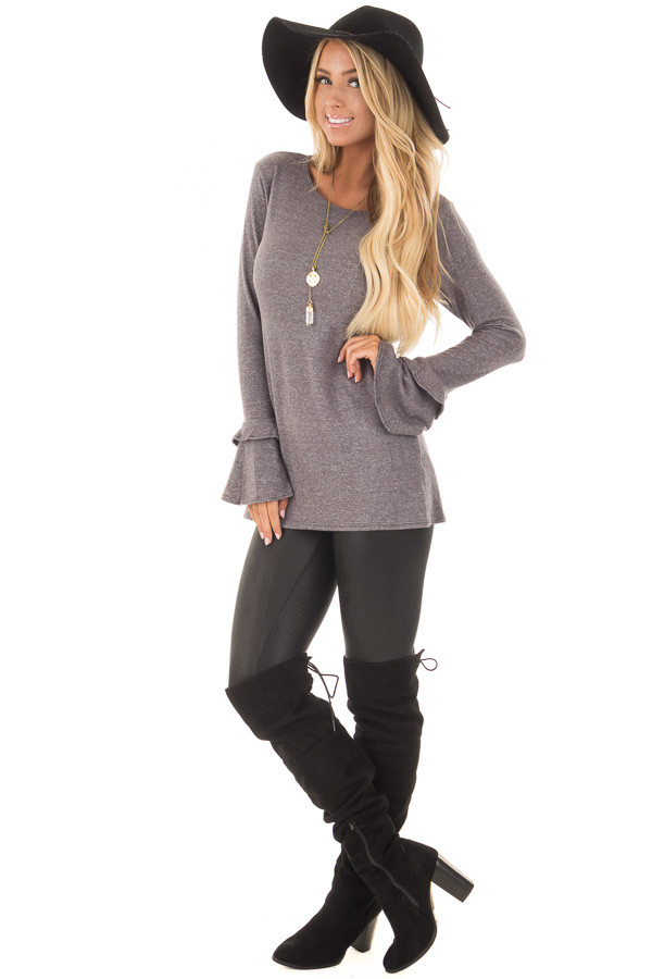 Charcoal Top with Tiered Bell Sleeves front full body