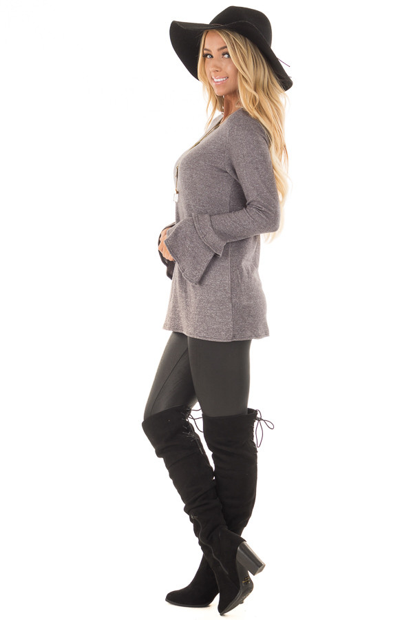 Charcoal Top with Tiered Bell Sleeves side full body