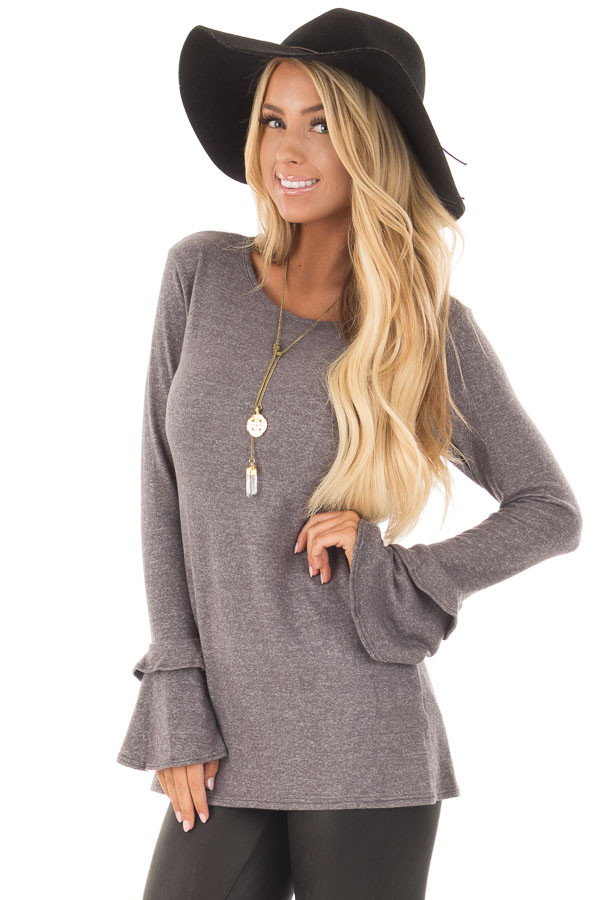 Charcoal Top with Tiered Bell Sleeves front closeup