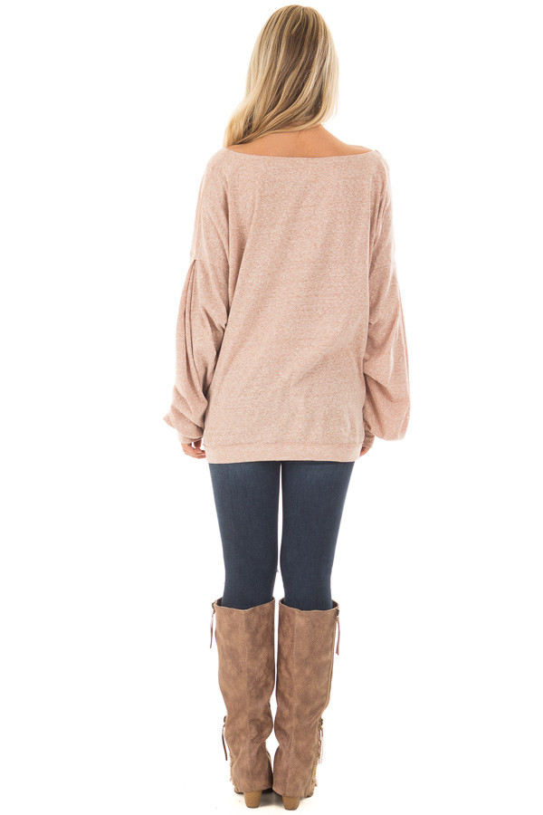 Blush Two Tone Wide V Neck Top with Gathered Bubble Sleeves back full body