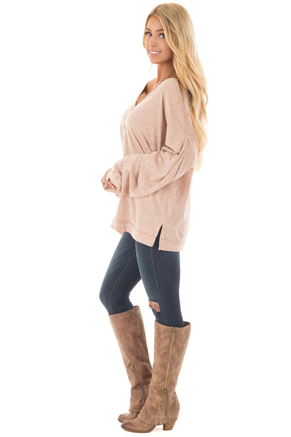 Blush Two Tone Wide V Neck Top with Gathered Bubble Sleeves side full body