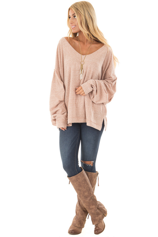Blush Two Tone Wide V Neck Top with Gathered Bubble Sleeves front full body