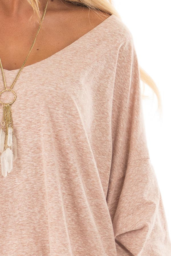 Blush Two Tone Wide V Neck Top with Gathered Bubble Sleeves front detail