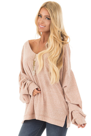 Blush Two Tone Wide V Neck Top with Gathered Bubble Sleeves front closeup