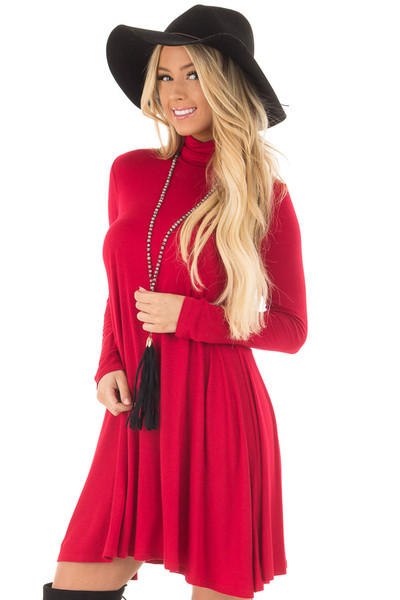 Lipstick Red Long Sleeve Turtleneck Swing Dress front closeup