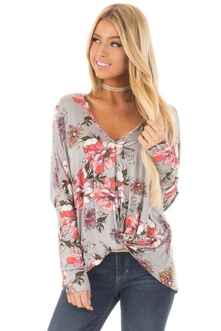 Light Grey Floral Print Top with Front Twist front close up