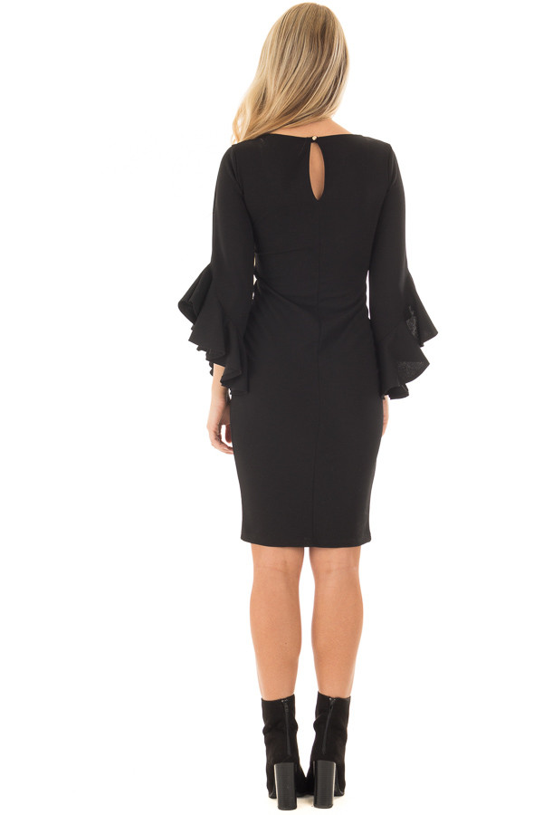 Black Form Fitting Dress with 3/4 Bell Sleeves back full body