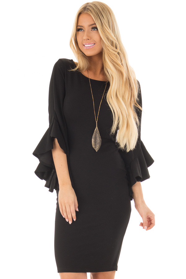 Black Form Fitting Dress with 3/4 Bell Sleeves front closeup