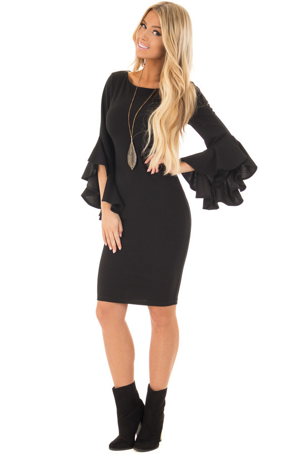 Black Form Fitting Dress with 3/4 Bell Sleeves front full body