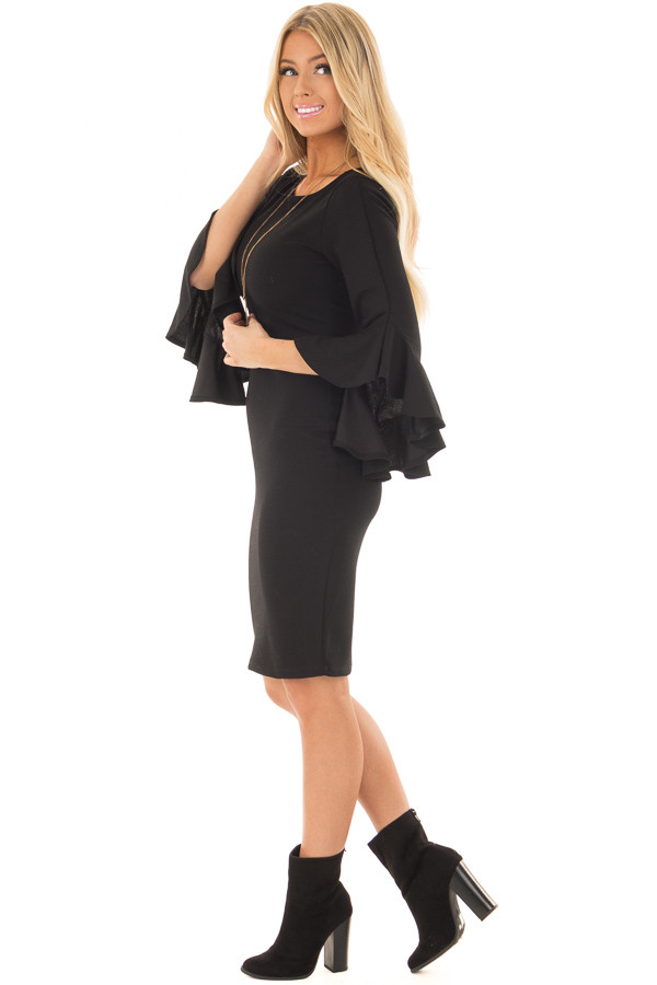 Black Form Fitting Dress with 3/4 Bell Sleeves side full body