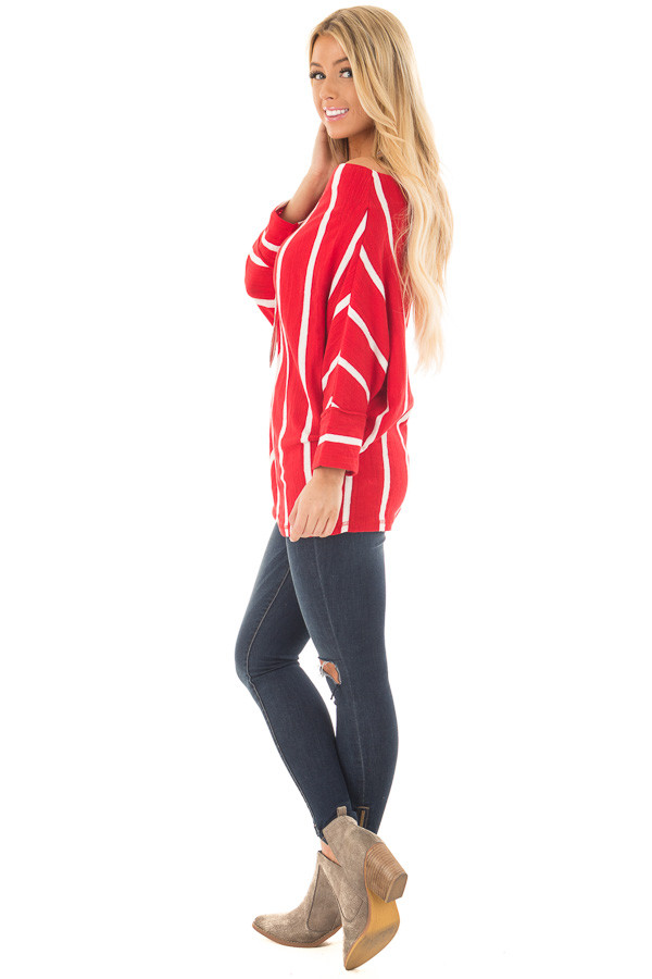 Cherry Red Striped Off the Shoulder Top side full body