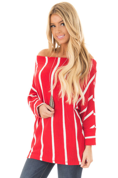 Cherry Red Striped Off the Shoulder Top front close up