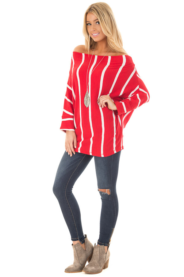 Cherry Red Striped Off the Shoulder Top front full body