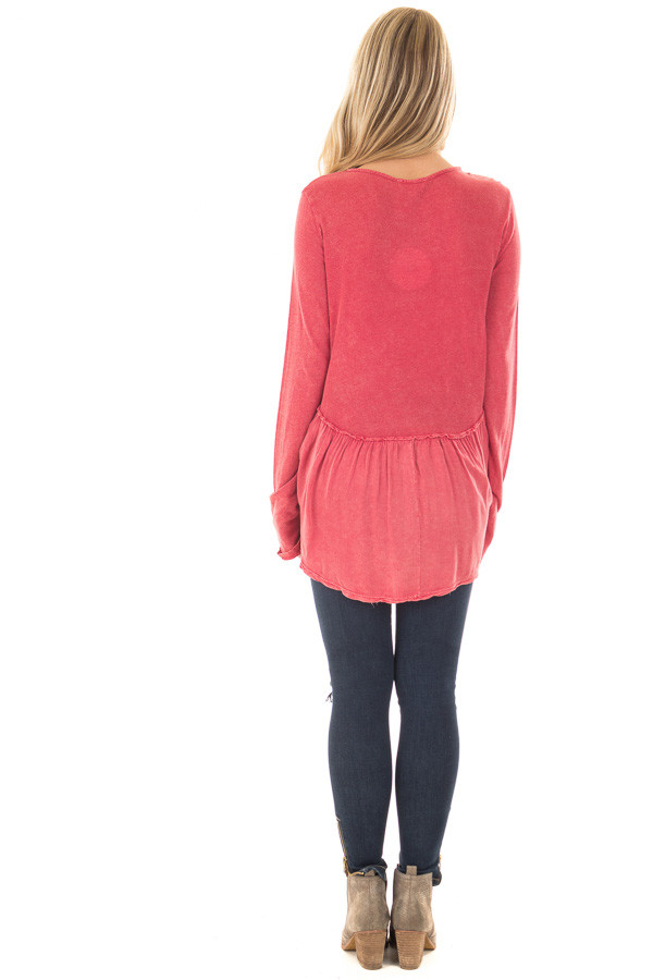 Berry Mineral Wash Top with Ruffle Hemline back full body