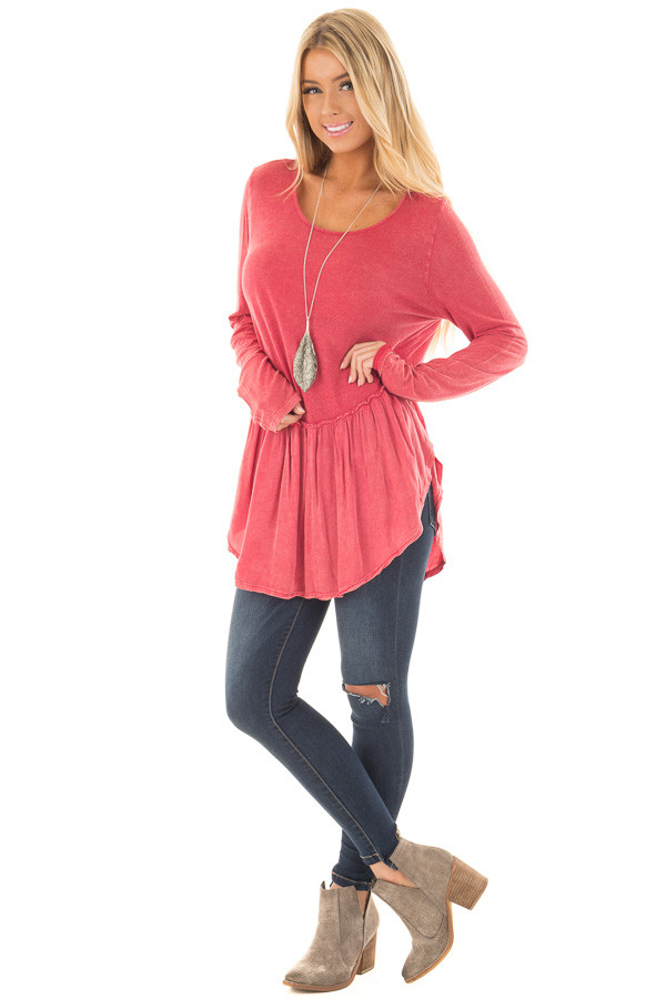 Berry Mineral Wash Top with Ruffle Hemline front full body