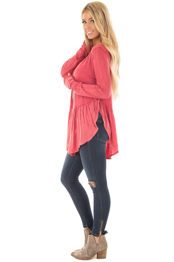 Berry Mineral Wash Top with Ruffle Hemline side full body