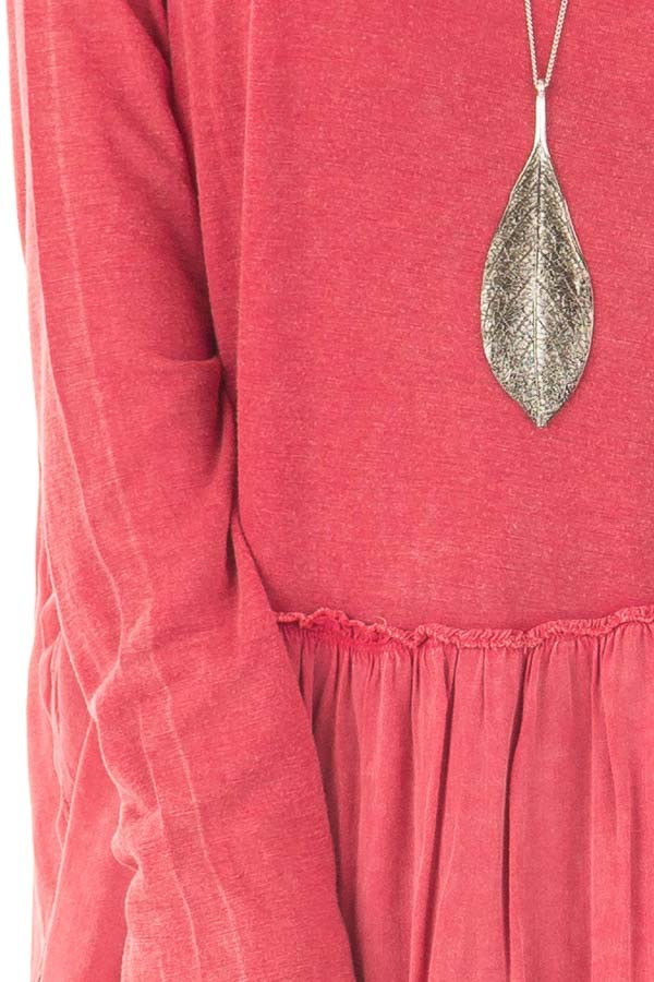 Berry Mineral Wash Top with Ruffle Hemline detail