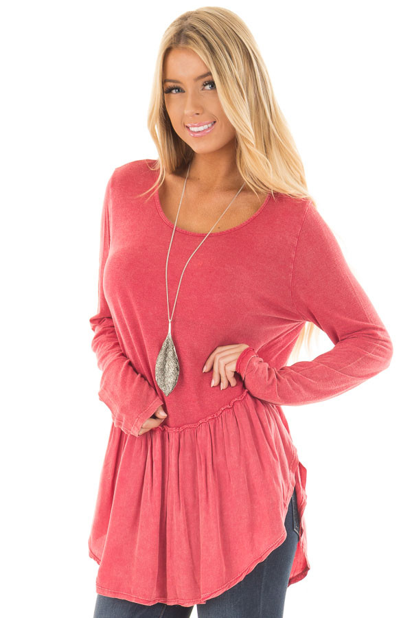 Berry Mineral Wash Top with Ruffle Hemline front close up