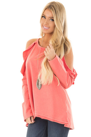 Coral Cold Shoulder Top with Ruffle Details front close up