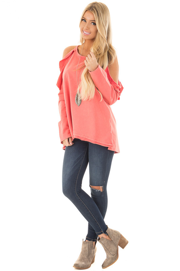 Coral Cold Shoulder Top with Ruffle Details front full body