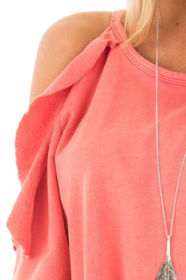 Coral Cold Shoulder Top with Ruffle Details detail