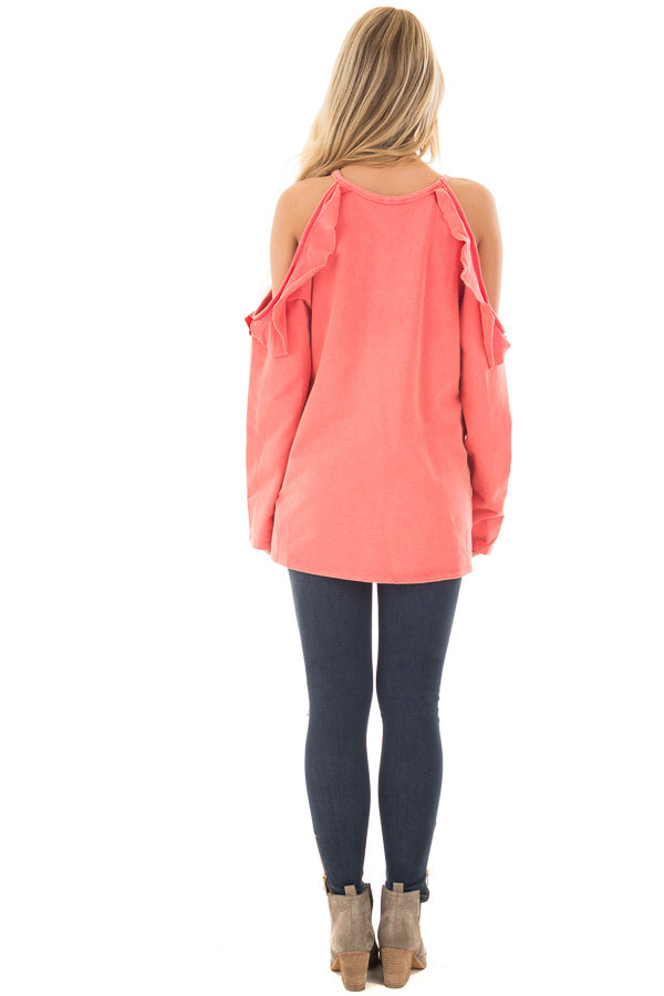 Coral Cold Shoulder Top with Ruffle Details back full body