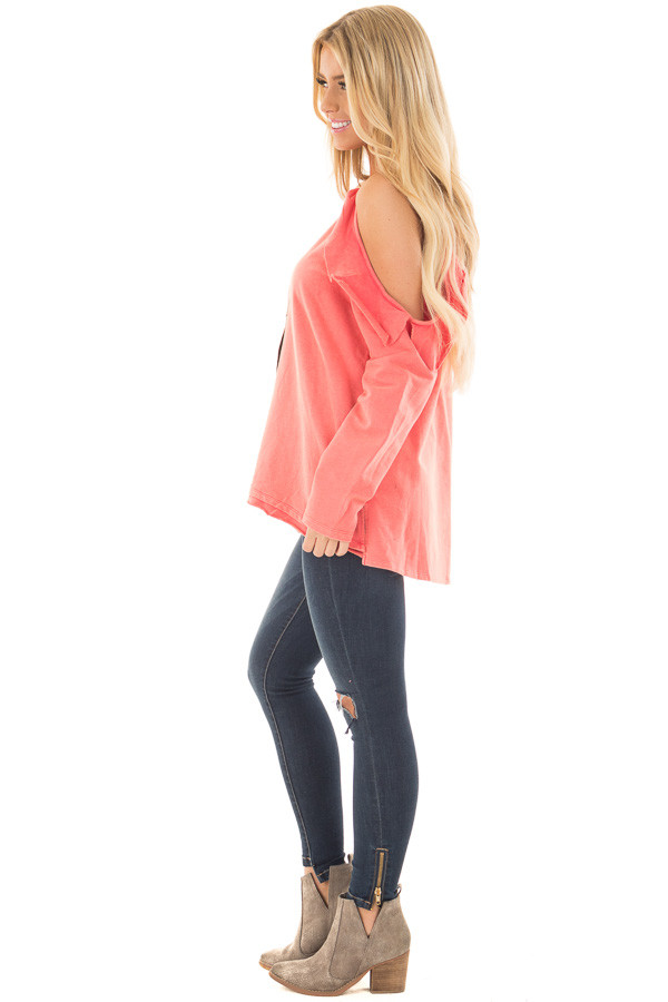 Coral Cold Shoulder Top with Ruffle Details side full body
