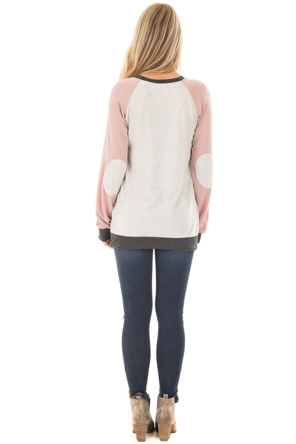 Heather Grey and Dusty Pink Top with Elbow Patches back full body