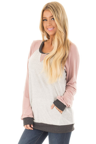 Heather Grey and Dusty Pink Top with Elbow Patches front close up