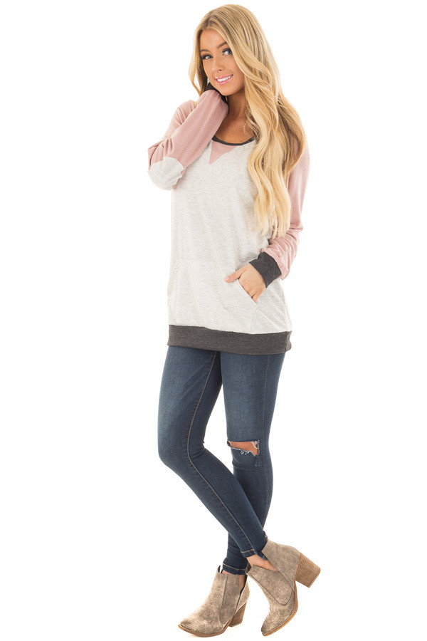 Heather Grey and Dusty Pink Top with Elbow Patches front full body