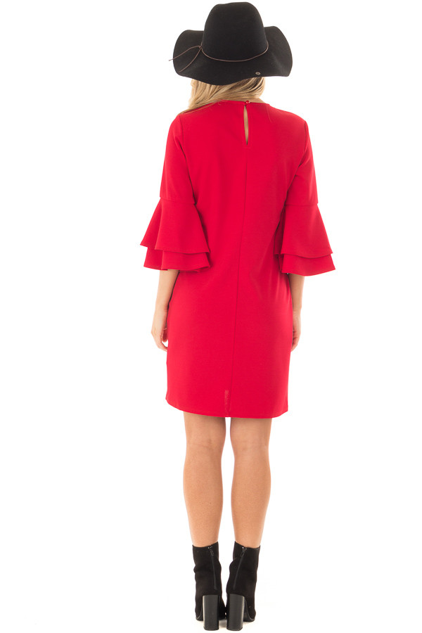 Lipstick Red 3/4 Tiered Bell Sleeve Dress back full body